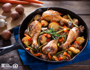 Chicken and Vegetables Grilled in Cast Iron Skillet