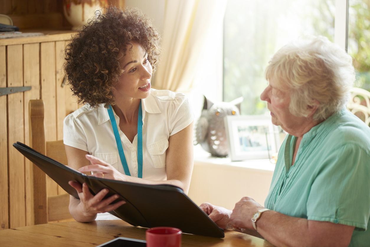 Mountain House Landlord Explaining the Lease to an Elderly Tenant