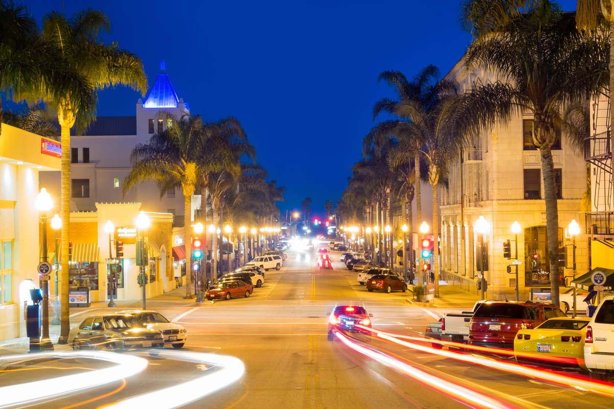 Night View of the Streets in Downtown Ventura CA