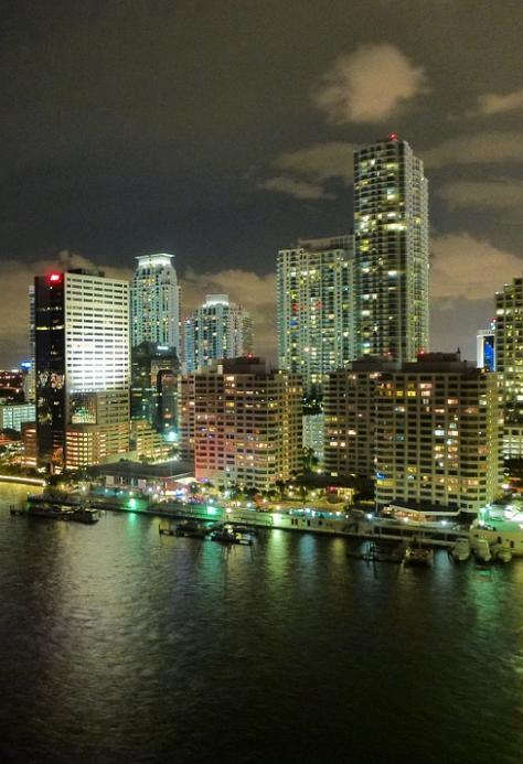 Ocean View of Miami Florida at Night