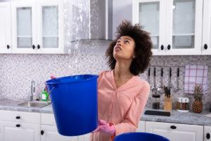 Davie Tenant Holding a Bucket Under a Leak