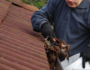 Shaw Rental Property Owner Cleaning the Gutters for Spring Cleaning