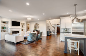 Restored Hardwood Flooring in the Kitchen and Living Room