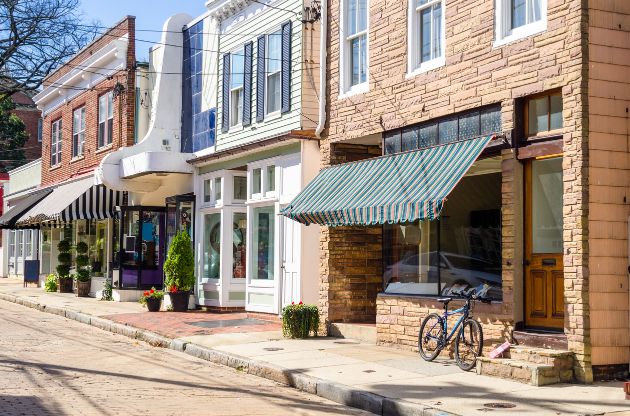 Traditional American Stores along a Cobble Street
