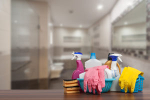 Cleaning Supplies as the Focal Point of a Bathroom in a Baltimore Rental Home