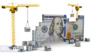 3D illustration of two cranes building a 100 dollar Bill