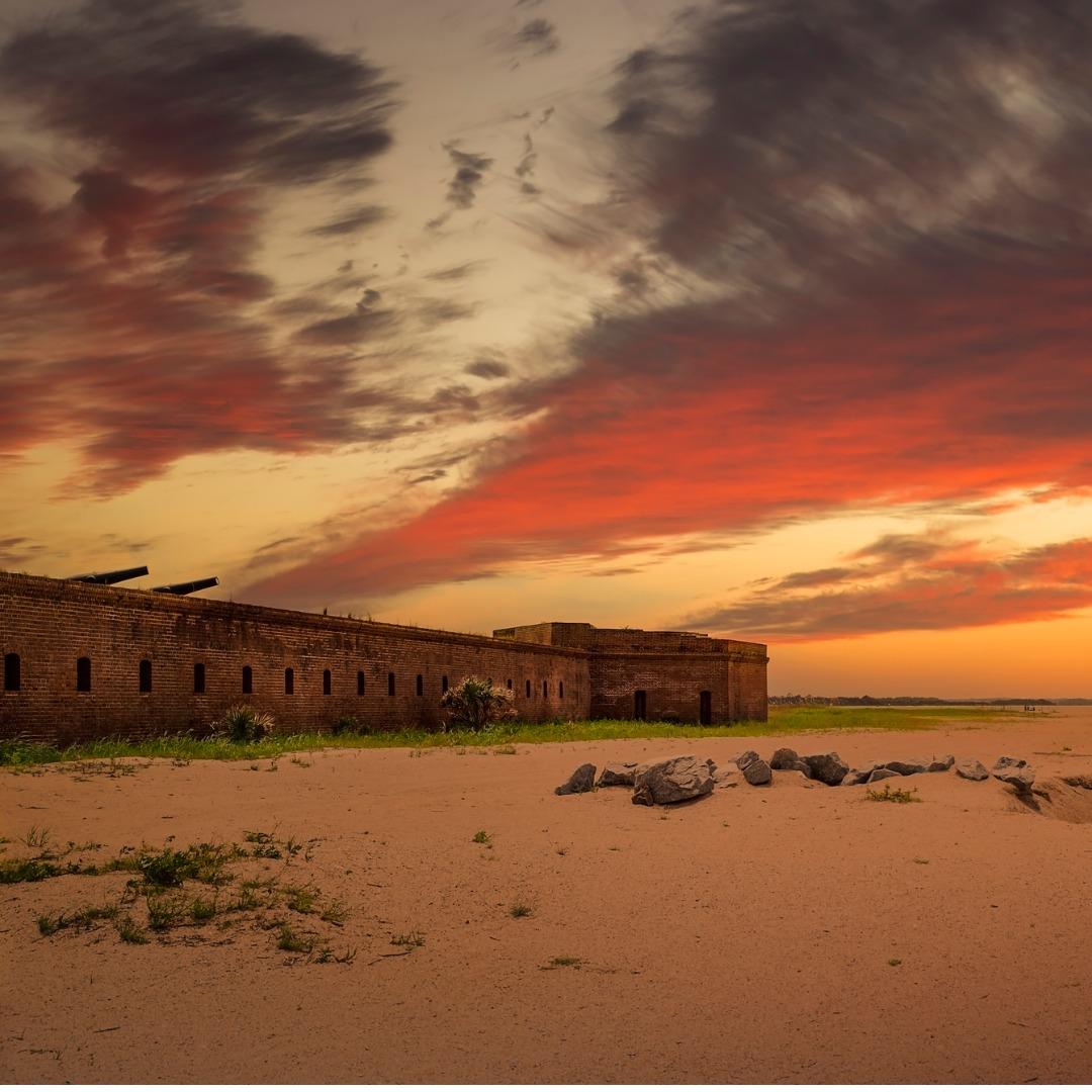Fort Clinch, Fernandina Beach, Florida, at sunset