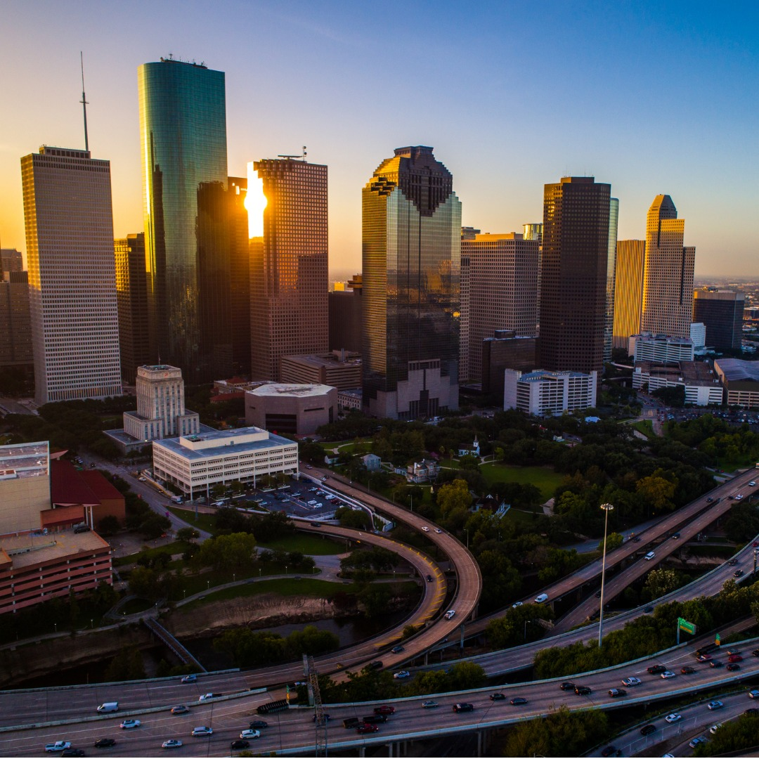 Aerial View of the Sunrise Over Houston TX