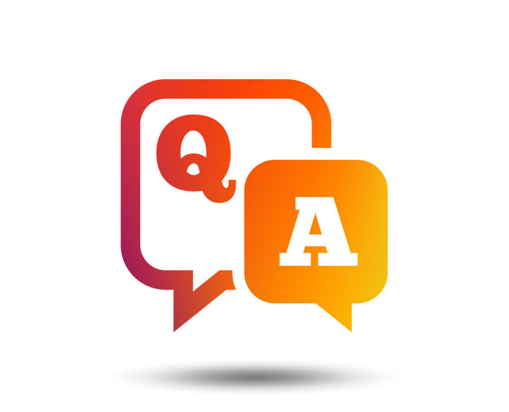 Question answer sign icon. Q and A symbol. Blurred gradient design element. Vivid graphic flat icon.