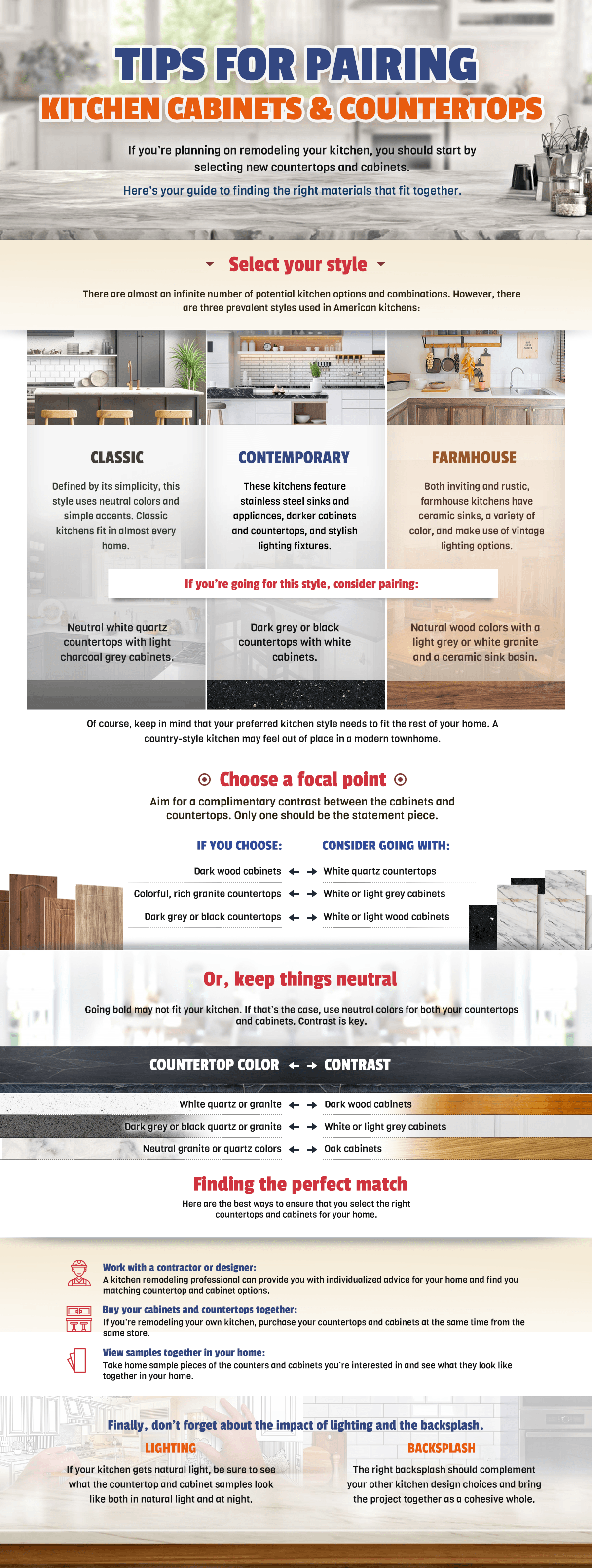 tips for pairing kitchen cabinets infographic