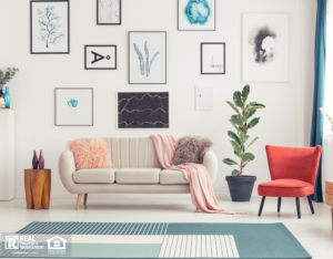 Colorful Living Room in Brewer Rental Home