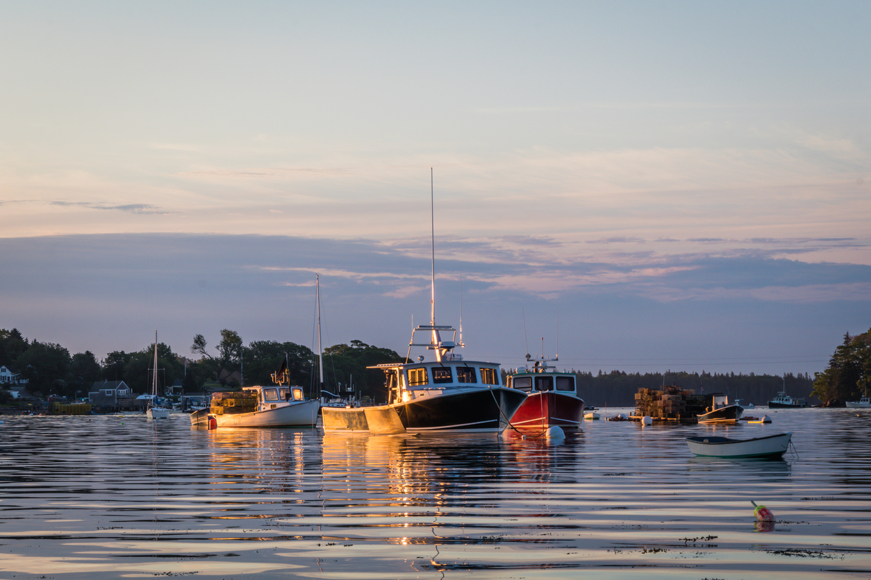 Lobster boats in the quiet and still harbor at dawn in Friendship, Maine, on a summer morning