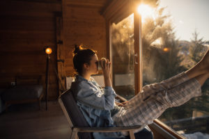 Woman Enjoying Her Stay at a Little Elm Vacation Rental