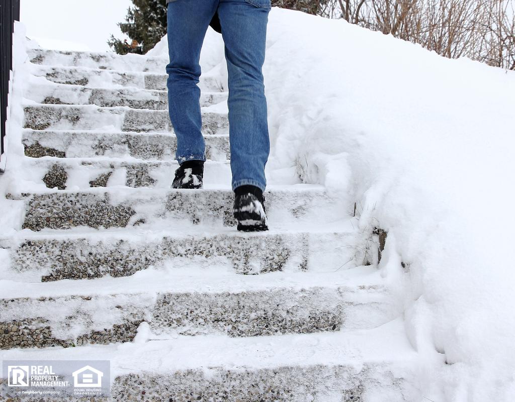 Keller Tenant Climbing Dangerously Icy Steps in Winter