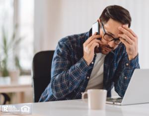 Stressed Stockbridge Property Manager on the Phone