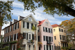 South Carolina row of old historic houses
