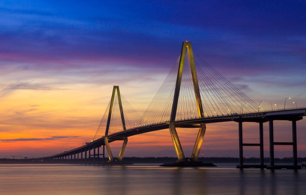 Cooper River bridge in Charleston South Carolina at sunset