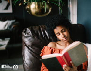 Woman Relaxing in Her Denton Reading Nook