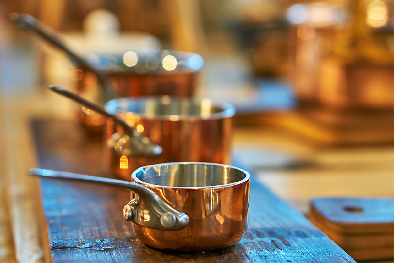 Beautiful Copper Cookware in a Chesterfield Kitchen