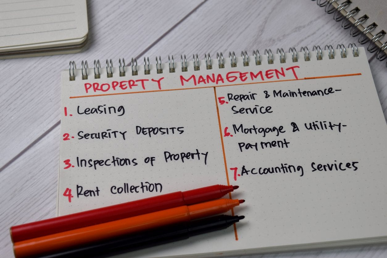 Property Management write on a book with keywords