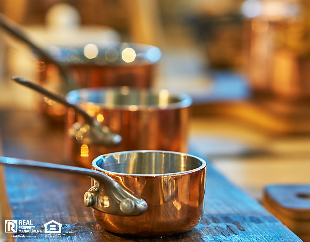 Beautiful Copper Cookware in a Crowley Kitchen