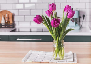 Glass Jar Vase with Flowers in a Lake Worth Rental Kitchen