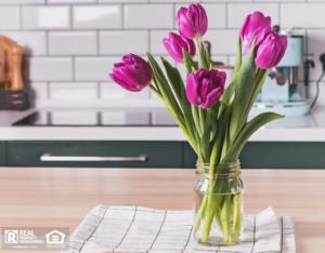 Glass Jar Vase with Flowers in a Bainbridge Rental Kitchen