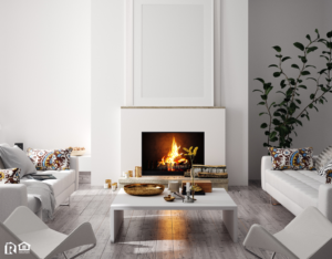 Warm and Cozy Fireplace in the Center of a Modern Living Room