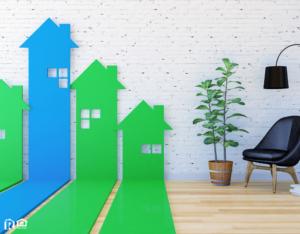 3D House-shaped arrow bar graph go upward in living room