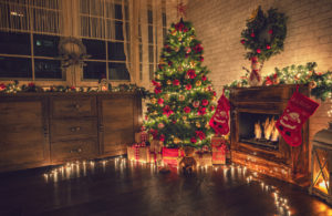 A Decorated Christmas Tree in the Living Room of a Rental Property in Hartford