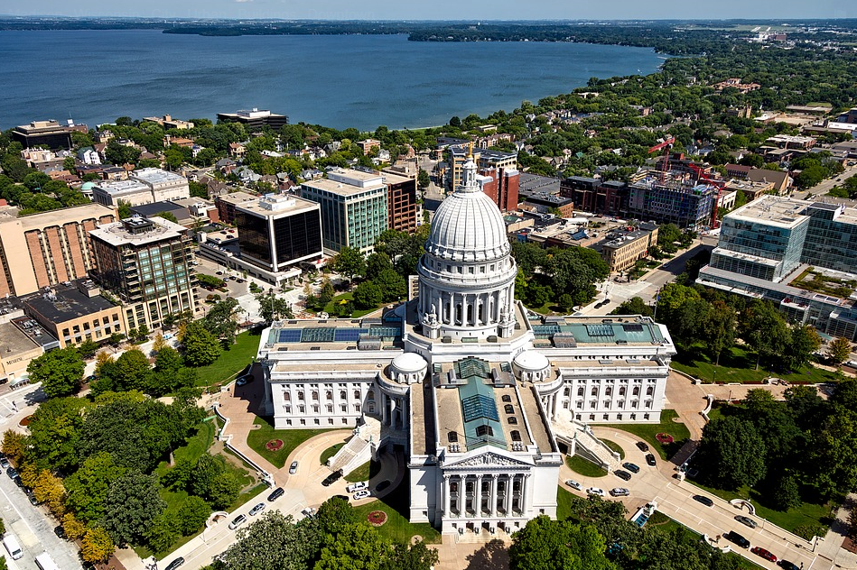 Aerial View of the Heart of Downtown Madison WI
