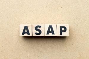 Alphabet letter block in word ASAP