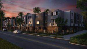 exterior of condominiums at night