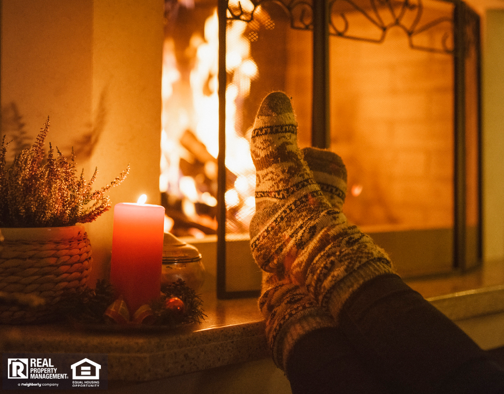 Winter Garden Tenant Warming Their Toes by the Cozy Fireplace