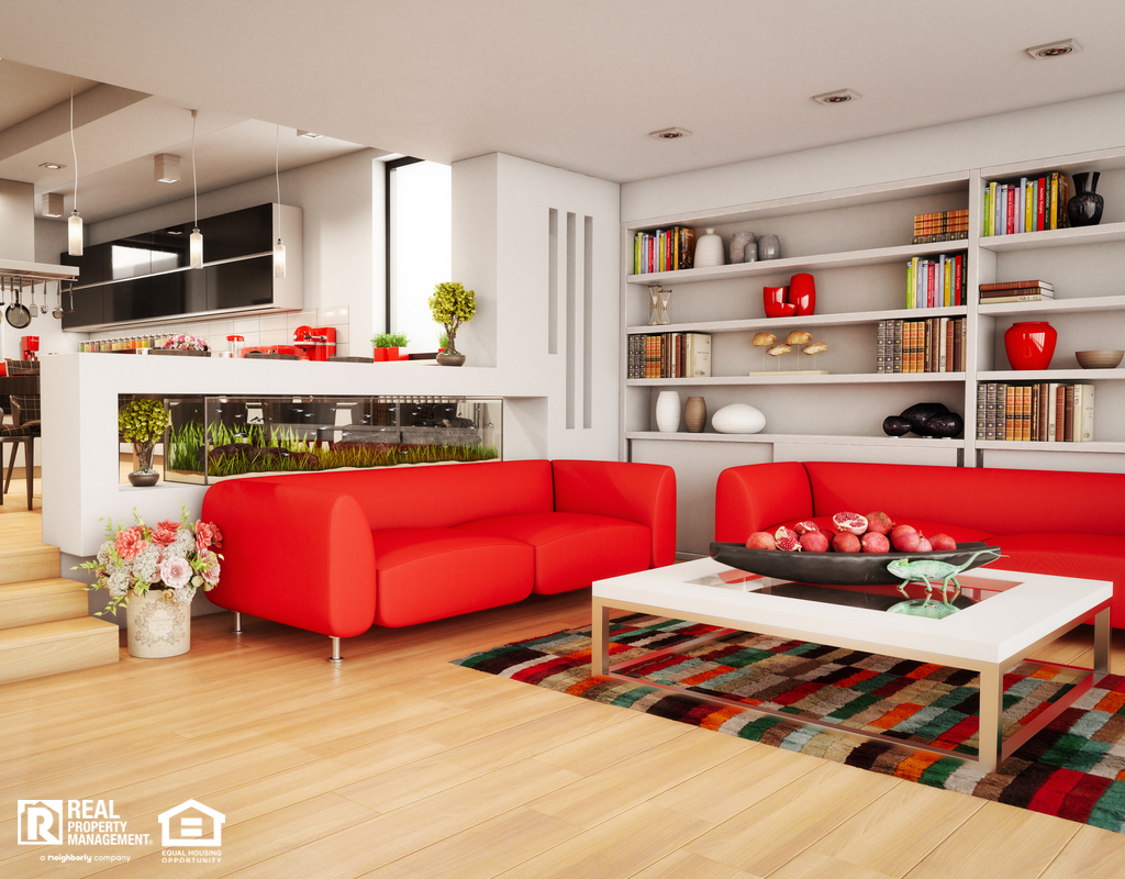 Modern Living Room Decorated with Red Couches