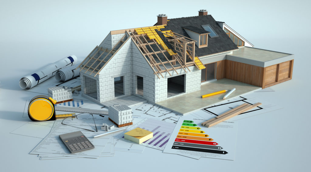 3D rendering of a house undergoing amplifying renovations with an energy chart, blueprints and other documents