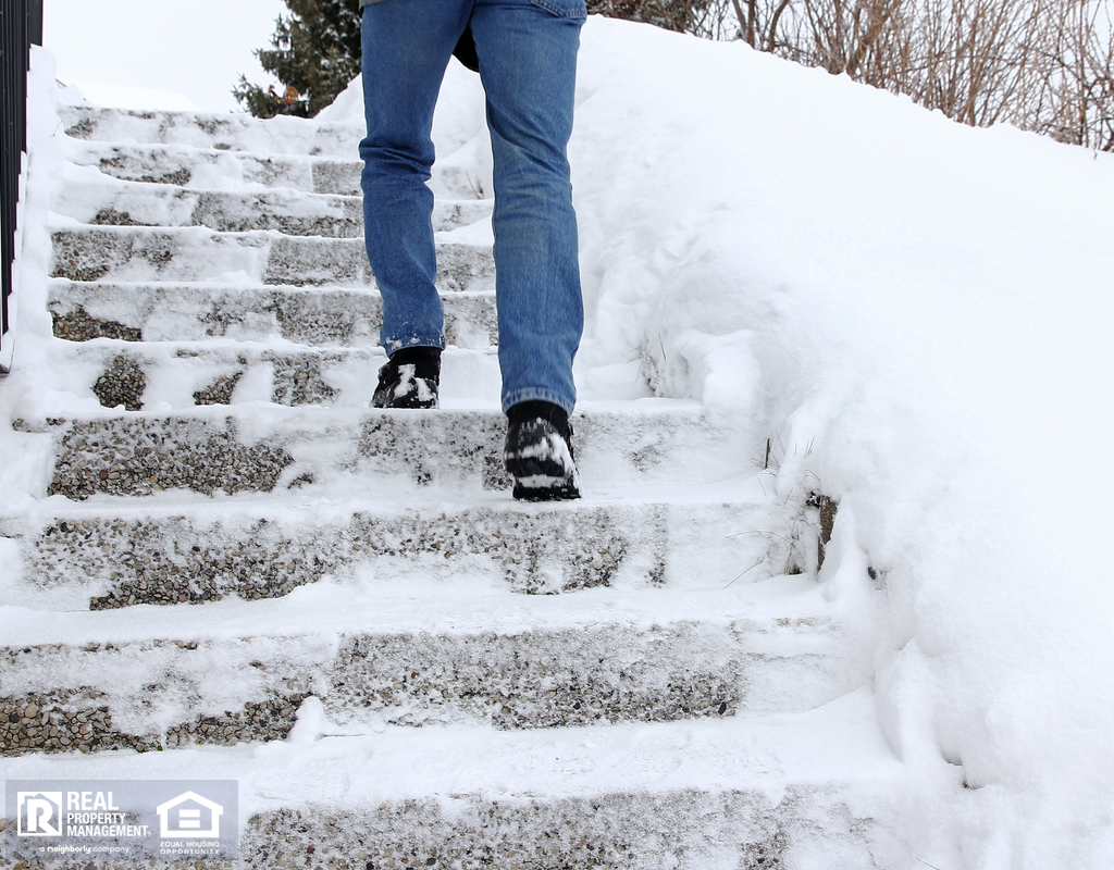 Hurricane Tenant Climbing Dangerously Icy Steps in Winter