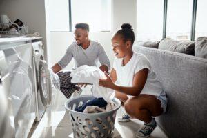 Hurricane Couple Doing Laundry