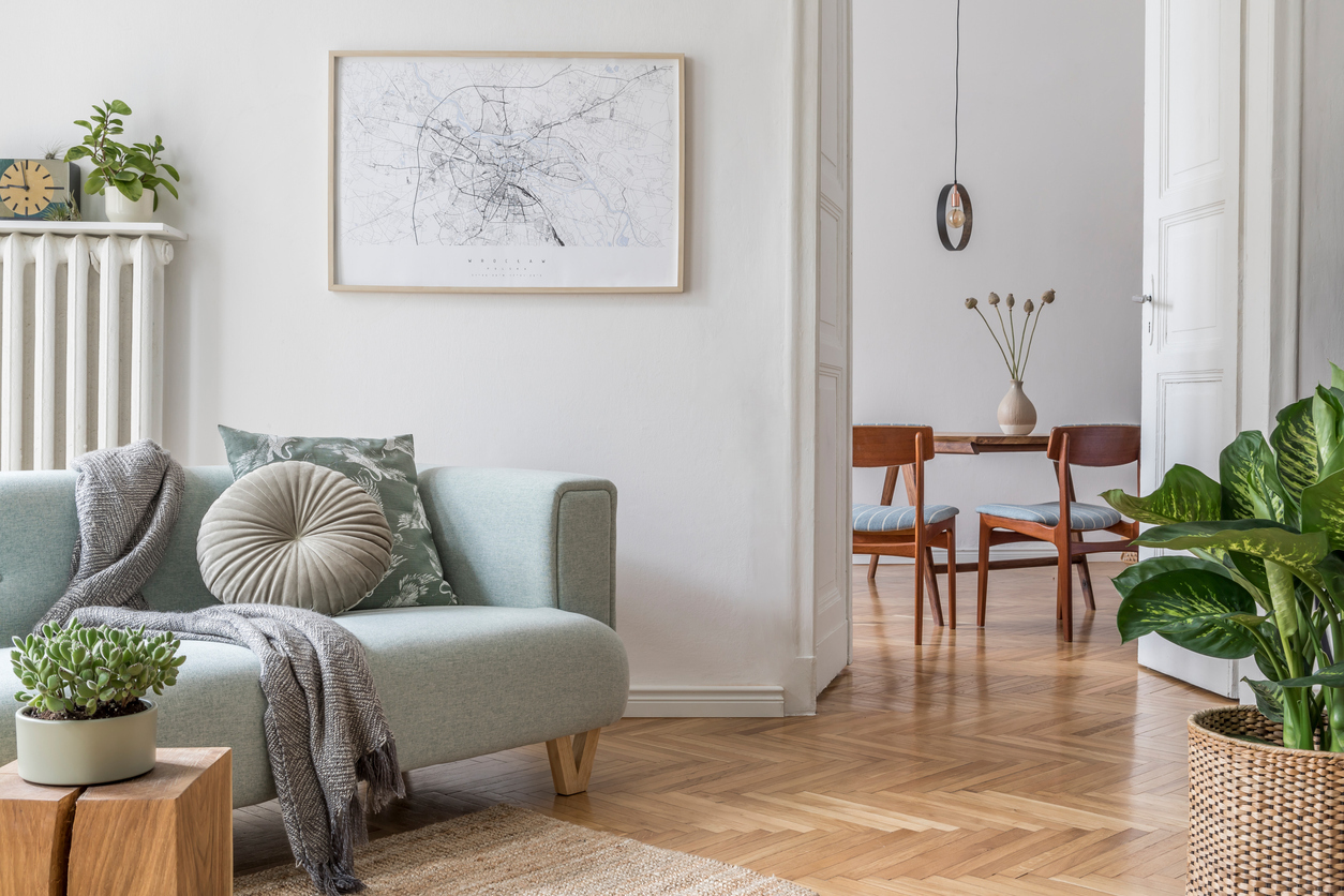 Stylish Living Room in Portsmouth with Reclaimed Wood Flooring