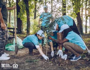Brookline Volunteers Planting Trees