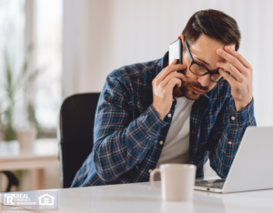 Stressed Cambridge Property Manager on the Phone