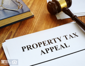 Orland Park Property Tax Appeal on a Desk with a Gavel