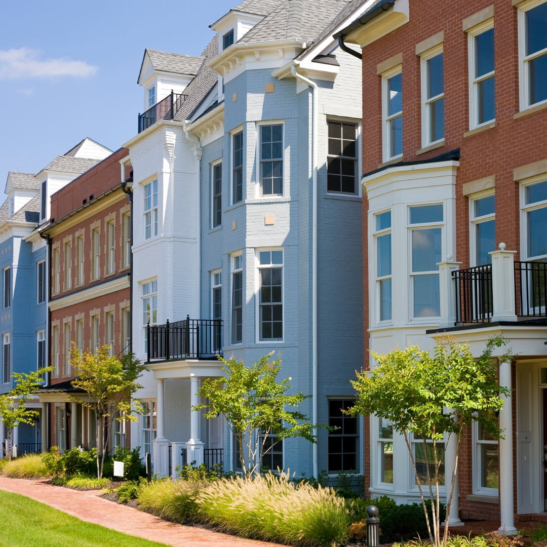 Colorful townhouses in Richmond, Virginia