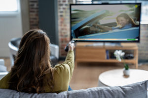 Hanover County Tenant Relaxing at Home Watching Cable TV