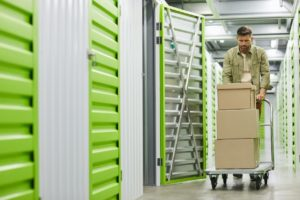 Henrico County Man Moving Boxes into a Storage Unit